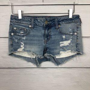 American Eagle Super Low Shortie Denim Shorts